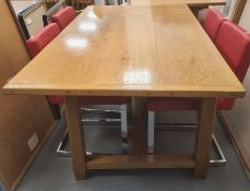 Large oak kitchen dining table, rectangular and on chamfered supports with H-stretcher, 158cm wide