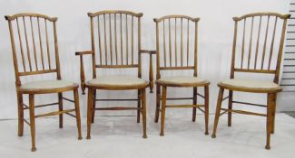 Set of four (3+1) stickback beech-framed chairswith padded seats, turned legs (4)