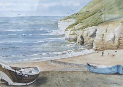 M Foulds (20th century school) Watercolour Beach scene with fishing boats, signed lower right 1987,