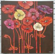 Three modern picturesto include A S Thomas (20th century school), oil on canvas, poppies, unframed,