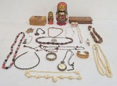 Quantity of costume jewellery to include beaded necklaces, bangles, etc, wooden jewellery boxes,