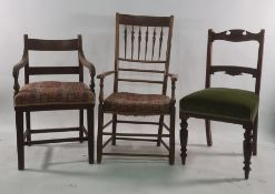 Philip Clisset hardwood spindle back elbow chair with rush seat (marked P C to top of both