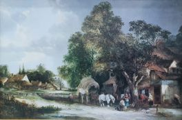 Oleograph depicting horse-drawn carriage in village scene, in gilt frame, 60cm x 90cm