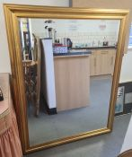 Modern rectangular gilt-framed mirror, 105.5 x 136cm