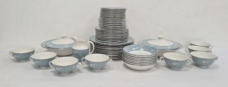 Royal Doulton dinner service 'Reflection' pattern, with grey and white borders, mainly for 12, to