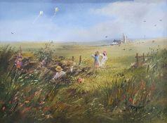 Early 20th century Oil on canvas River scene, unframed Modern oil on canvas Girls flying kites