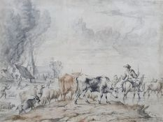 Unattributed (19th century school) Watercolour Burning village with villagers fleeing across a