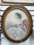 Victorian coloured mezzotintof a seated lady with flowers in her hair and on her dress, oval, in
