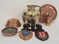 Copper jelly mould, large Eastern brass ewer andother metalware
