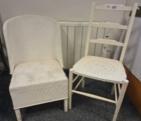 White painted chair with pierced seat and one further white chair (2)