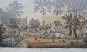 Coloured engraving Village of Prestbury, 16.5cm x 25cm Colour print HMS Pique (2)