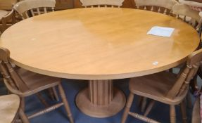 20th century maple circular breakfast table by Conran, on pedestal base, 150cm approx diameter