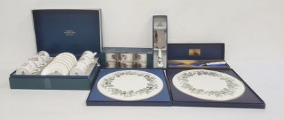 Set of six Royal Worcester coffee cans and saucers (boxed), two Royal Worcester china cake stands (