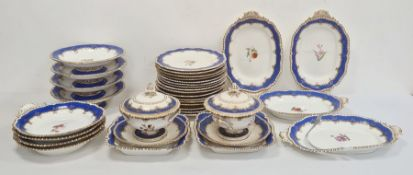 19th century china dessert set, all with gilt gadroon borders, blue and gilt foliate borders,