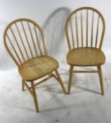 Pair of modern beech stickback chairs (2)