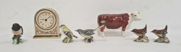 "Beswick model cow ""CH. of Champions"", five Beswick model birds and a Wedgwood Cleo pattern clock ("