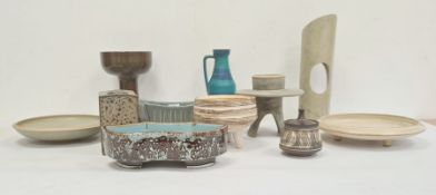 Various pieces 20th century studio pottery to include Frank Fellows candle holder/vase, West