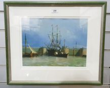 Set of six colour prints after 19th century school oils, ships at sea, various sizes (6)