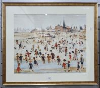 Two prints after Lowry, beach scene and street scene (2) Condition ReportThe larger print is 76.5cm