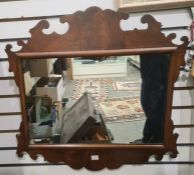 19th century mahogany fretwork carved mirror