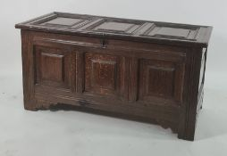 Possibly 18th century oak coffer, shaped panels to the front and square panels to the front,