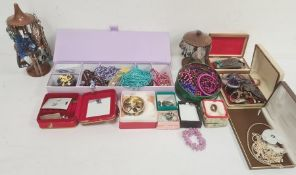 A quantity of costume jewellery, beaded necklaces, earrings, bangles etc (1 box)