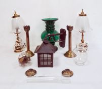 Green glass large vase with bulbous body, metal lantern-style light, pair brass table lamps and