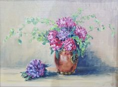 Oil on canvas board Modern still life study of flowers in a vase Watercolour Bluetits another