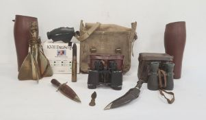 Brass propeller lampby T Walter & Son, Birmingham, pair binoculars, Eastern knives andpair leather