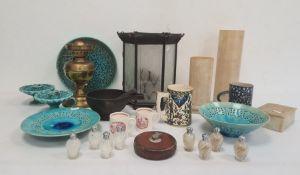 Surveyor's tape, alabaster vases and box, brass oil lamp, iron pestle and mortar, quantity Isnik
