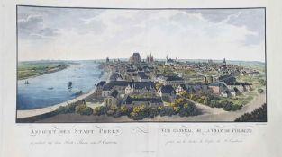 After Cranx, byJacob Gaisser Coloured engraving 'Ansicht Der Stadt Coeln, Vue General De La Ville