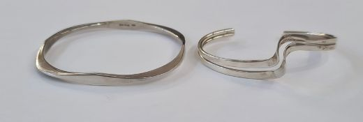 Silver open bangle, double-wave design and another flattened square design (2)