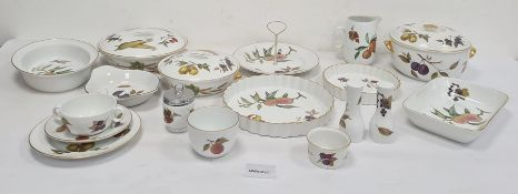 Large quantity Royal Worcester Evesham Oven-to-Tableware to include covered serving dishes, flan