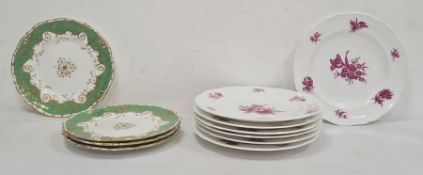 Seven 19th century china plates, puce decorated with naturalistic floral sprays including tulips and