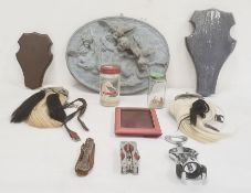 Two sporrans, wooden plaques,composition cherub plaqueand other items Condition ReportThe