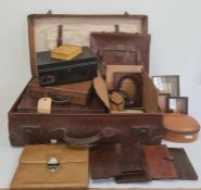 Vintage leather suitcase, document box, small stationery cases, leather boxes and other similar