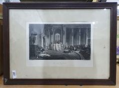 Quantity of decorative prints andunframed black and white oil on board of village scene