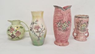 Large Arthur Wood 'Astoria' pattern pottery vase with everted rim, in pink, 29cm high, another ovoid