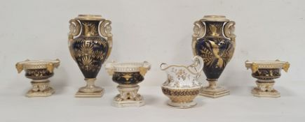 Set of three early 19th century Derby pastille burners, each circular, decorated in royal blue and
