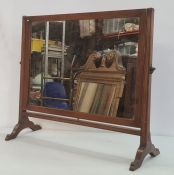 19th century mahogany dressing table swing mirror with rectangular plate, on end supports