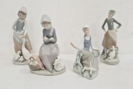 Lladro girl with stool, pail and goose, 24 cm, Lladro goosegirl with goose and goslings, another