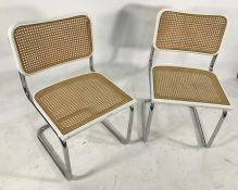Set of six modern cane back and seated chairswith chrome cantilever-style bases (6) Condition