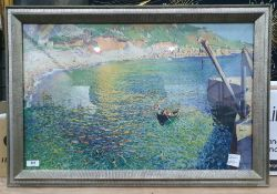 Colour print after Laura Knight (20th century school) of a boat, various landscape printsand