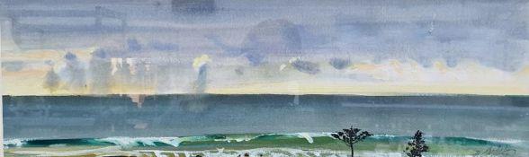 "B Arauyi (contemporary Australian school) Gouache drawing ""Waltzing Birds, Black Head Beach"", signed"