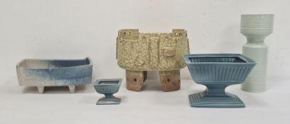 Elaine Goddard turquoiseglazed pedestal bowl, rectangular and reeded on step foot, similar