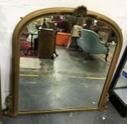 Arch-top overmantel mirror in moulded gilt-effect frame, 130 x 123cm