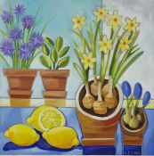 G J Tyler (20th century school) Pair of oils on canvas Still life studies of bowls and fruit,
