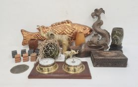 Carved wooden items, green glass witch's ballandother collectable items