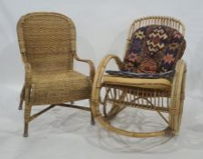 20th century cane rocking chair and one further wicker chair(2)