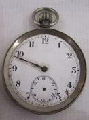 Open faced pocket watch with enamel dial with subsidiary seconds dial (missing hands and damage to